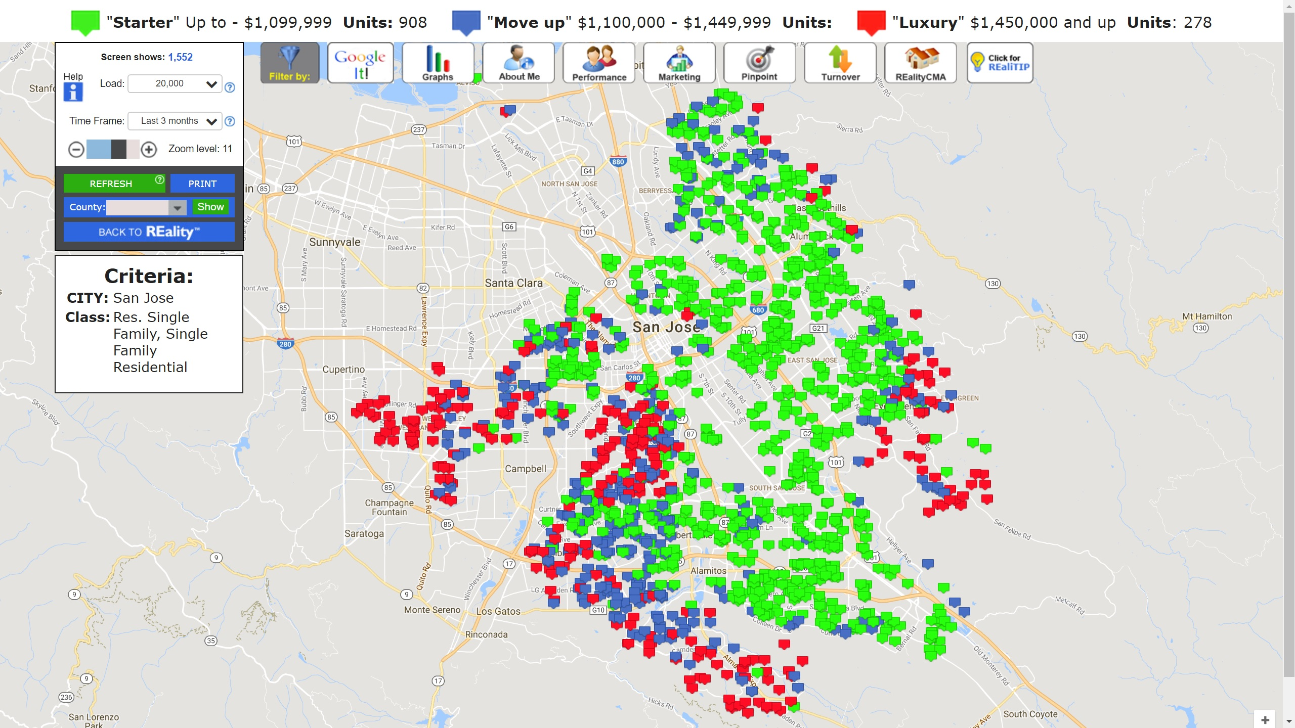 SAN JOSE REAL ESTATE MARKET UPDATE SALES MAP NOVEMBER 2017