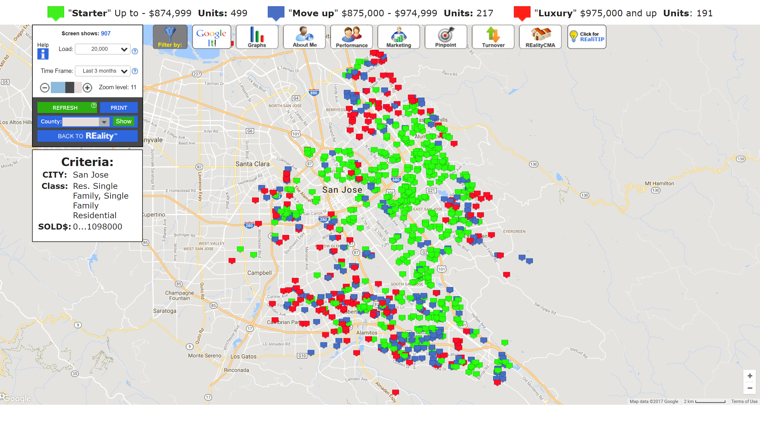 SAN JOSE REAL ESTATE MARKET UPDATE STARTER HOME SALES MAP NOVEMBER 2017