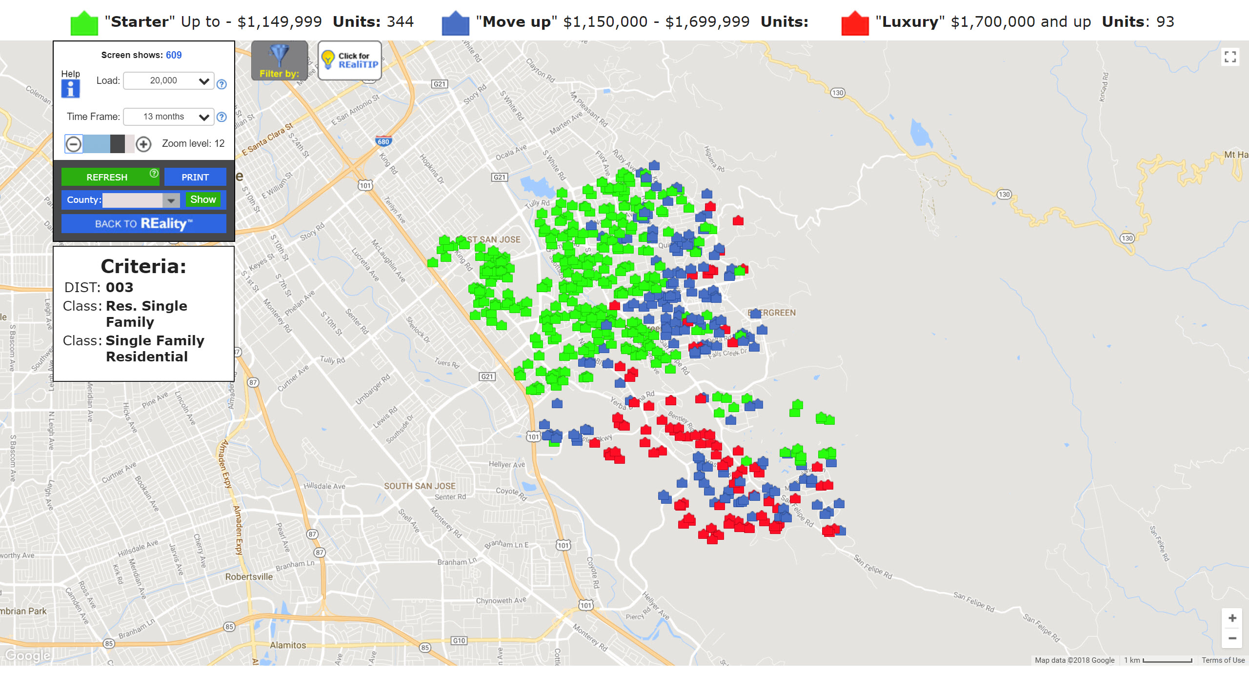 Evergreen San Jose Real Estate Market Update Value Ranges Sales Map January 2018