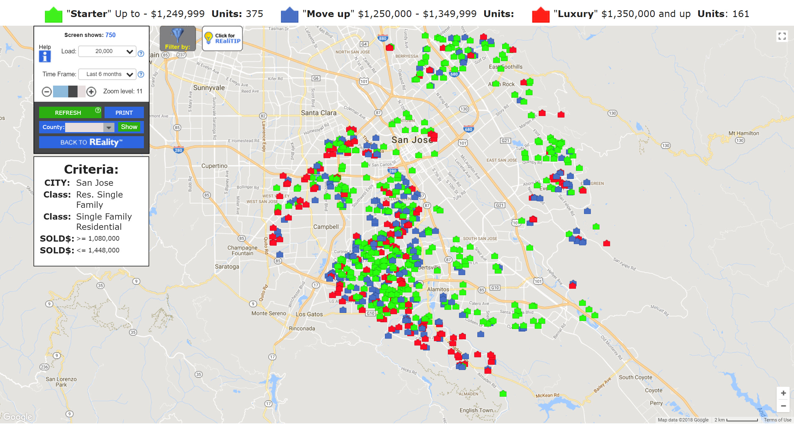 SAN JOSE REAL ESTATE MARKET UPDATE MOVE UP HOME SALES MAP JANUARY 2018